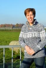 """Alvega "" gebreide wollen trui met klassiek Noors Patroon in blauw gemeleerd en wit"