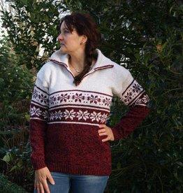 """""""Loures"""" Wollen gebreide trui met dubbel Noors patroon."""