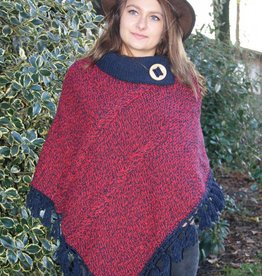 """Minde"" poncho in rood"