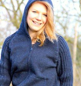 """""""Peniche"""" Gebreid wollen vest met capuchon in blauw."""