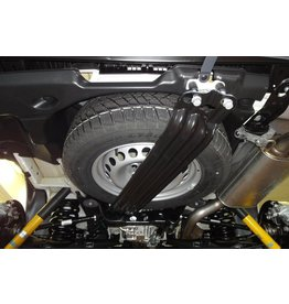 Under body spare wheel holder for oversize off-road tyres