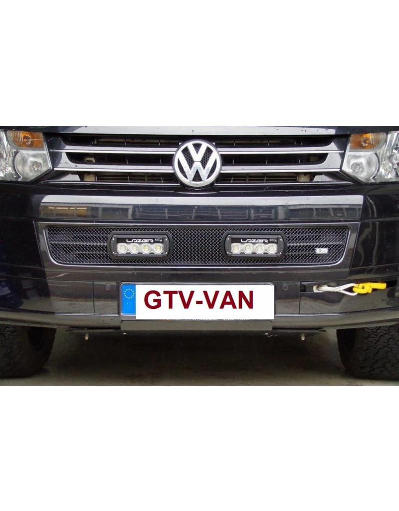 Einbau des Kühlergrilleinsatzes mit LAZER ST-4 EVO high performance LED-Fernscheinwerfern (Zusatzscheinwerfer), für VW T5.2 (ab MJ 2010)