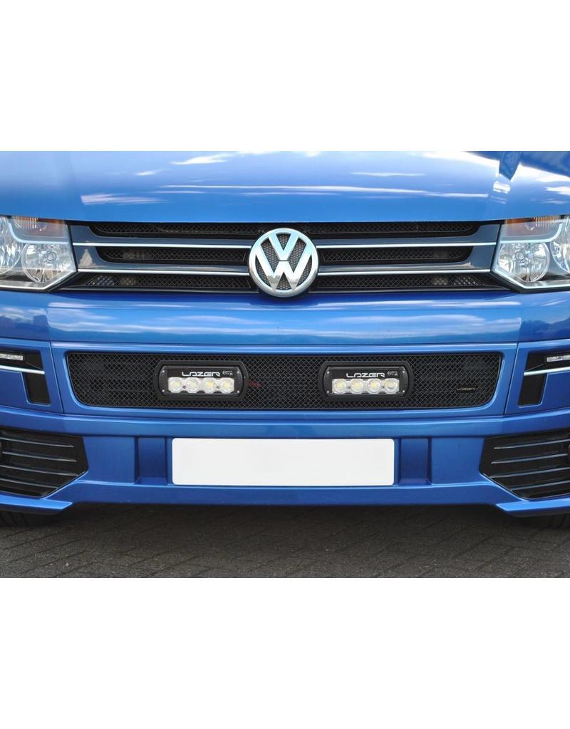 Montage: kit calandre avec projecteurs LED haute performance LAZER ST-4 EVO (projecteur supplémentaire), pour VW T5.2 (à partir de l'année 2010)