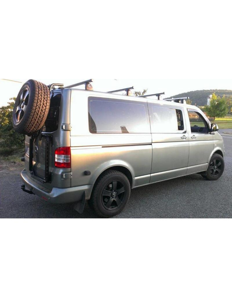"""VW T5/6 rear LEFT door carrier system """"modular"""" suitable fo carrying spare wheel, canister, etc."""