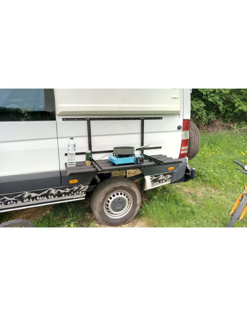 GTV-VAN Fold-down system for lateral attachment of recovery boards to the Mercedes Sprinter or others.