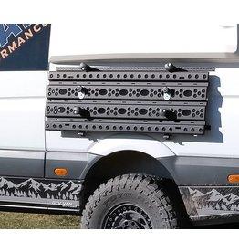 Herunterklappbares System zur seitlichen Befestigung von Sandblechen am Mercedes Sprinter und anderen.