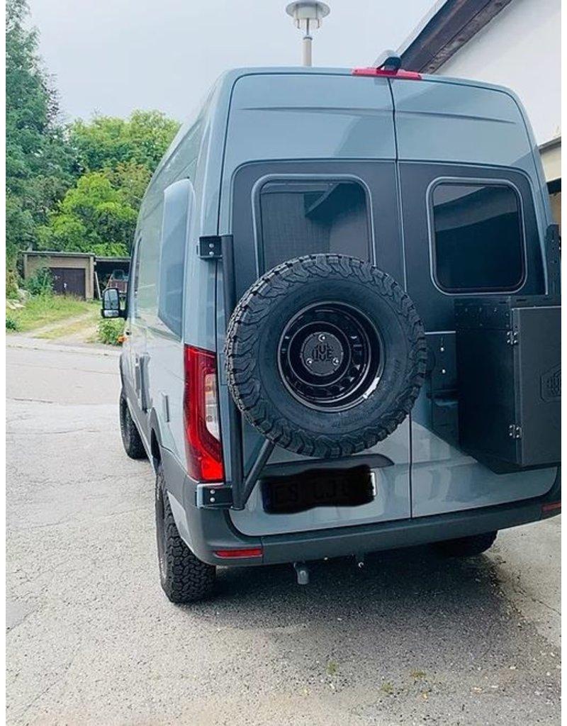Mercedes Sprinter 906 spare wheel carrier on left door (180°door)