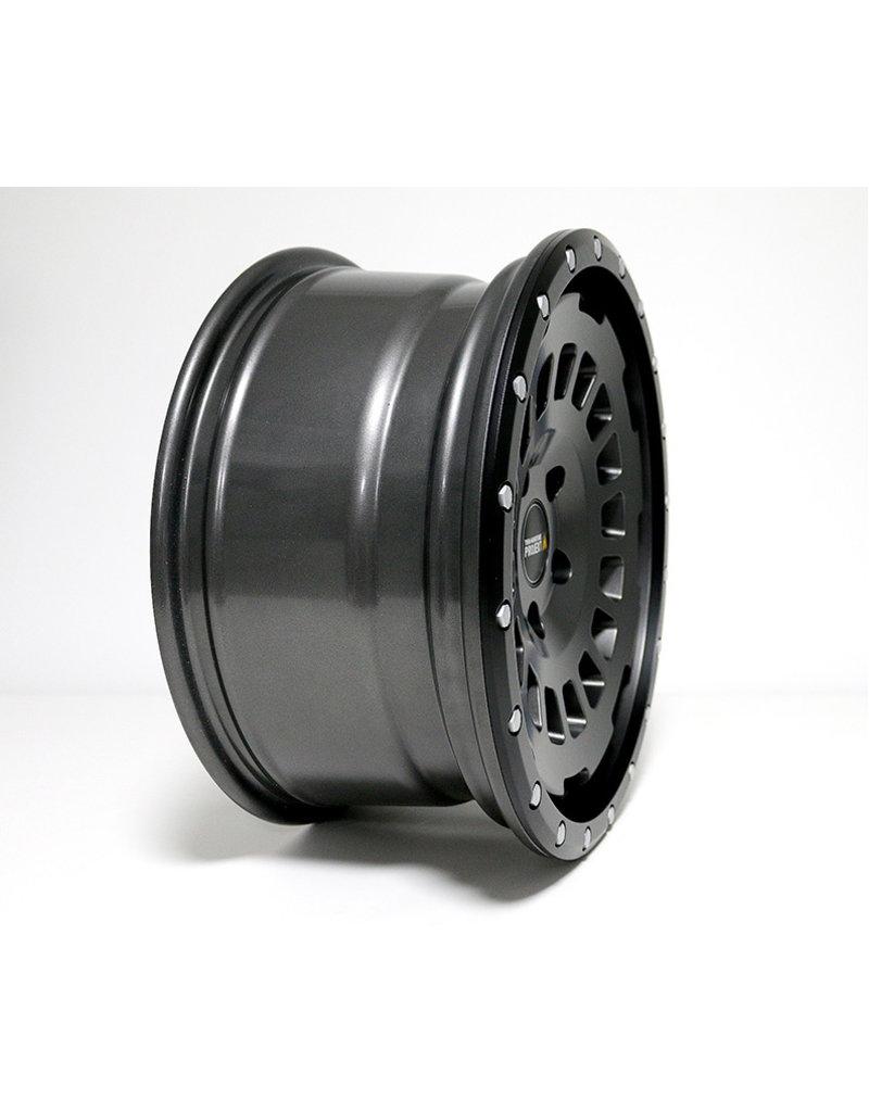 TWIN-MONOTUBE-PROJEKT-AT Alufelge 8X17 ZOLL IN SEIDENMATT STONE, KONKAVFÜR VW T5, T6, T6.1, AMAROK / ET40 (T6.1 = ET37 inkl. 3mm Platten), 5x120/65