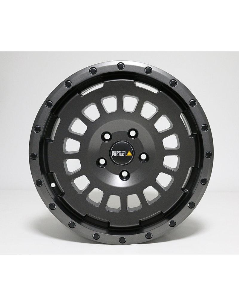 TWIN-MONOTUBE-PROJEKT-AT Alufelge 8X17 ZOLL IN SEIDENMATT GRANIT, KONKAVFÜR VW T5, T6, T6.1, AMAROK / ET40 (T6.1 = ET37 inkl. 3mm Platten), 5x120/65