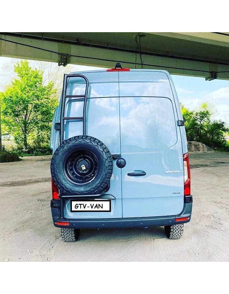 OVE spare wheel holder with ladderVW Crafter 2017+/MAN TGEfor 180 ° doors and high roof
