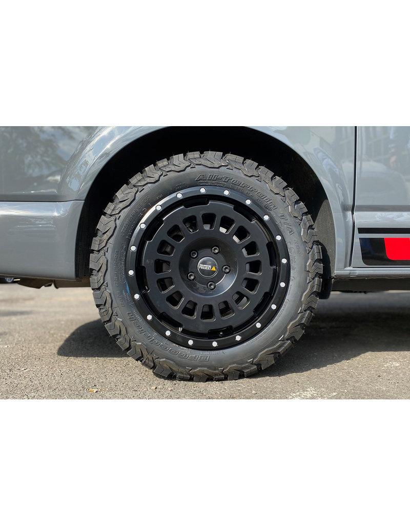 TWIN-MONOTUBE-PROJEKT-AT18 , 8X18; ET 45, 5x120/65 - All Terrain Alu FELGE IN SEIDENMATT-SCHWARZ FÜR VW T5, T6, T6.1, (UND VW MQB (PASSAT, CADDY ETC), ET 45, 5x120/65