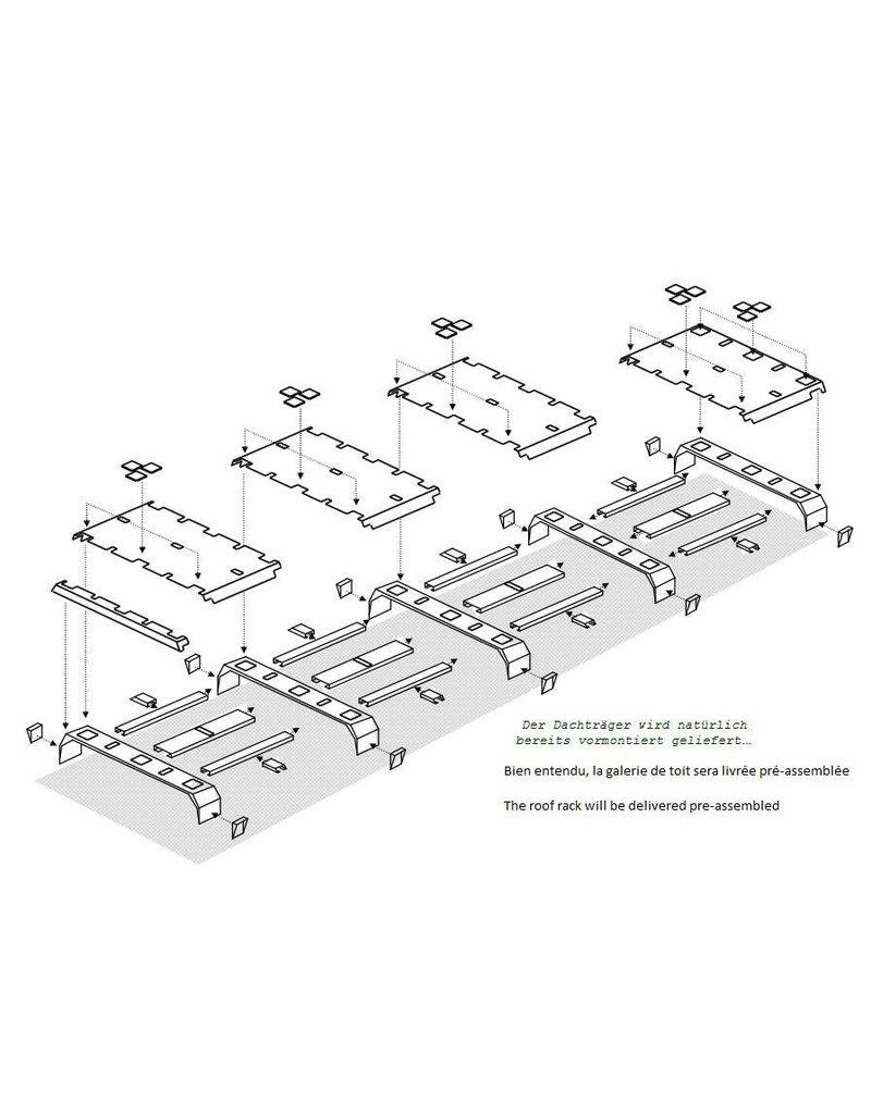 GTV-GMB VW T3 modulares Dachgepäckträgersystem komplett XL (5 Module) - Alu schwarz gepulvert oder Alu Natur