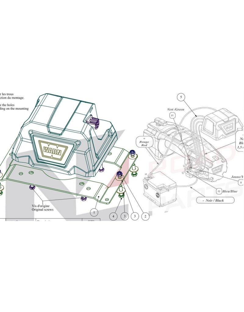 Nützliches Relaiskasten Versatzset  mit 1,5m Kabeln und abgewinkelter Öse für den Einbau Warn Tabor, VR EVO oder Zeon Winde auf den Windenhalterungen KMT030 oder KMT033