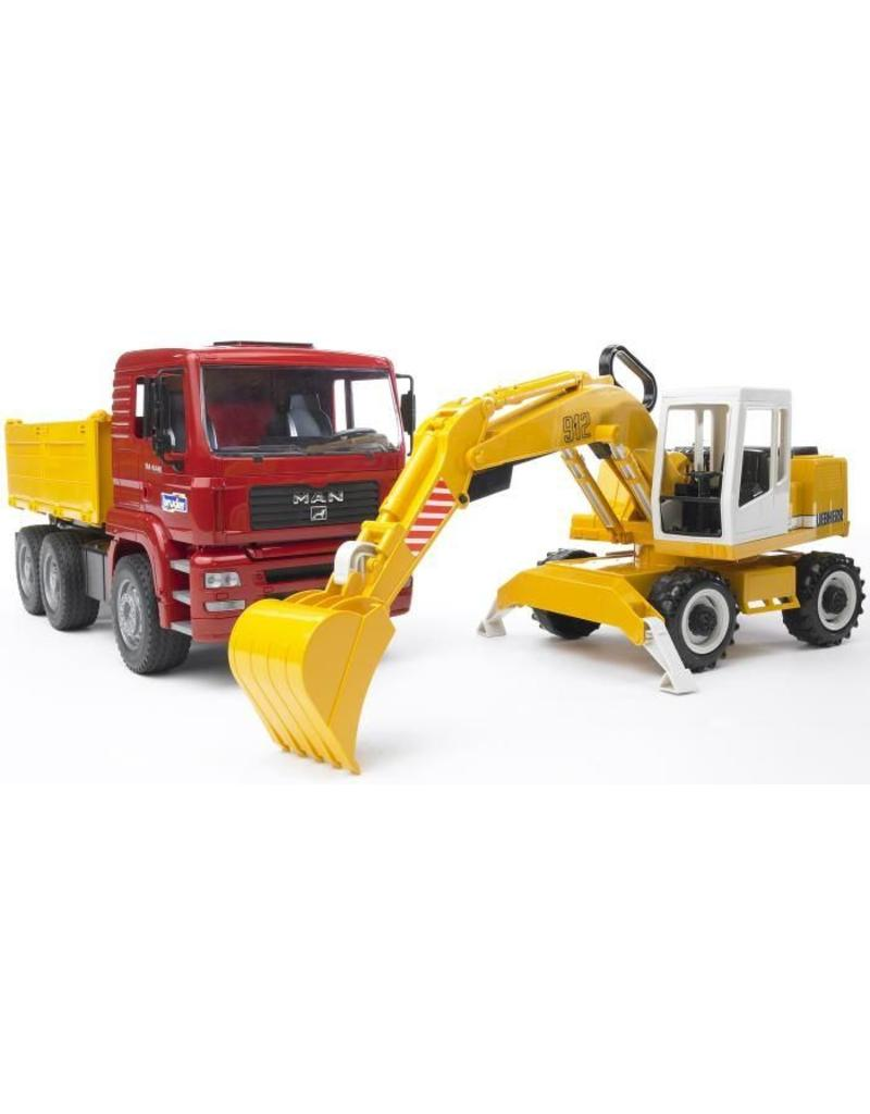 Bruder Bruder 2751 - MAN vrachtwagen met Liebherr graafmachine