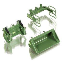 Wiking Wiking 77383 - Frontladerset A kleur groen : Bak, Balen- & Bomenklem 1:32