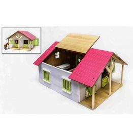 Kids Globe 610168 - Paardenstal hout met 2 boxen en berging (roze) 1:24