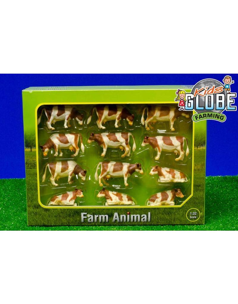 Kids Globe Kids Globe 571968 -  Koeien roodbont (12 stuks) 1:32