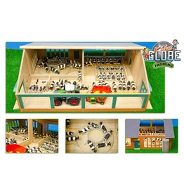 Kids Globe Kids Globe 610768 - Ligboxenstal hout met melk caroussel 1:32