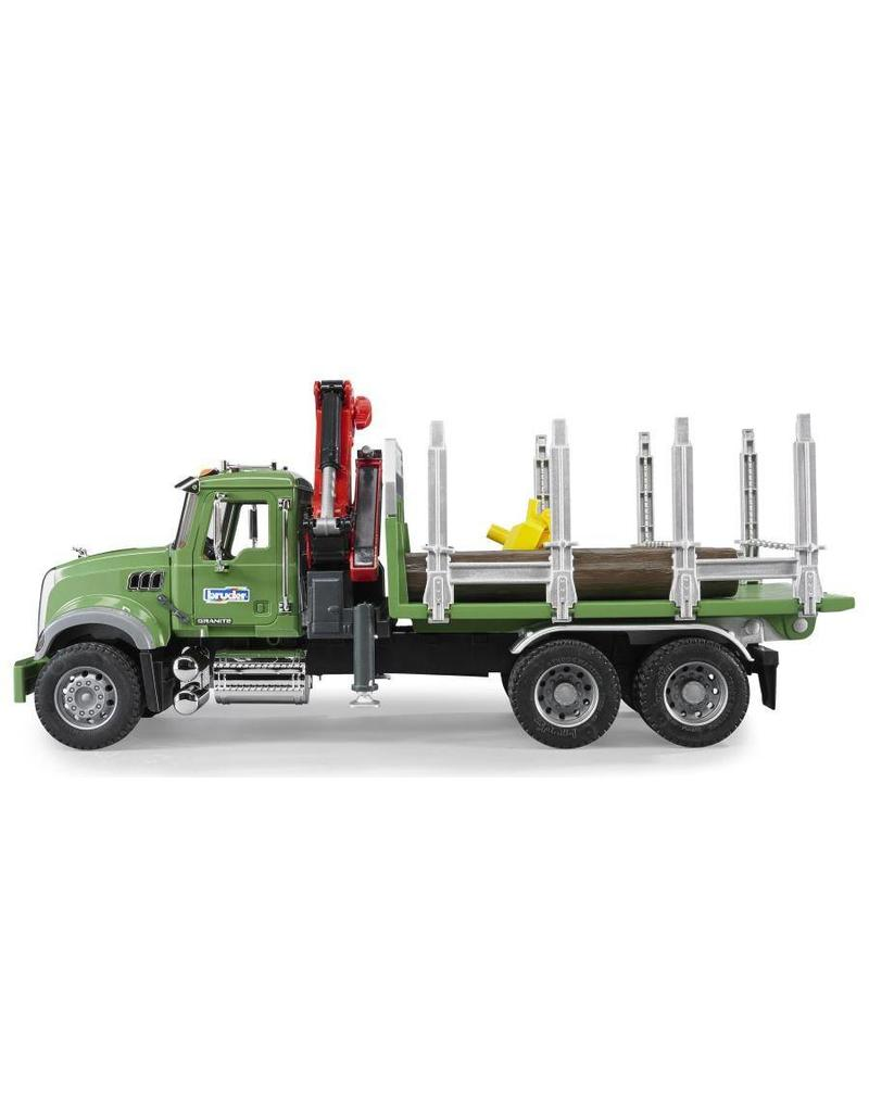 Bruder Bruder 2824 - Mack Granite houttransporter met laadkraan en bomen