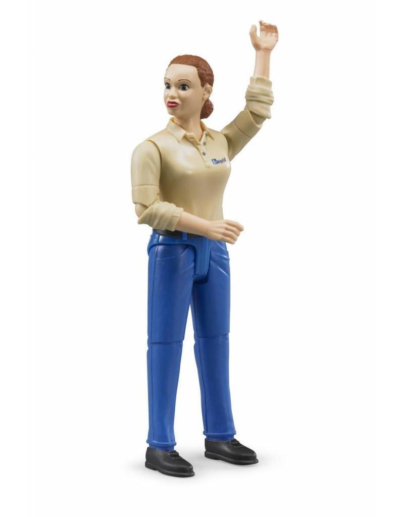 Bruder Bruder 60408 - Speelfiguur vrouw: blank, bruin, blauwe jeans