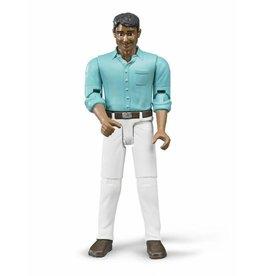 Bruder Bruder 60003 - Speelfiguur man: donker, bruin, witte jeans