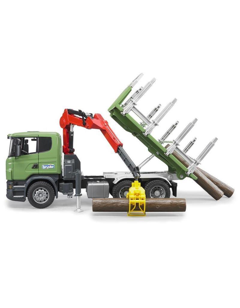 Bruder Bruder 3524 - Scania Houttransporter met kraan en 3 boomstammen
