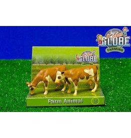 Kids Globe Kids Globe 571970 - Koeien staand Fleckvieh (2 stuks) 1:32