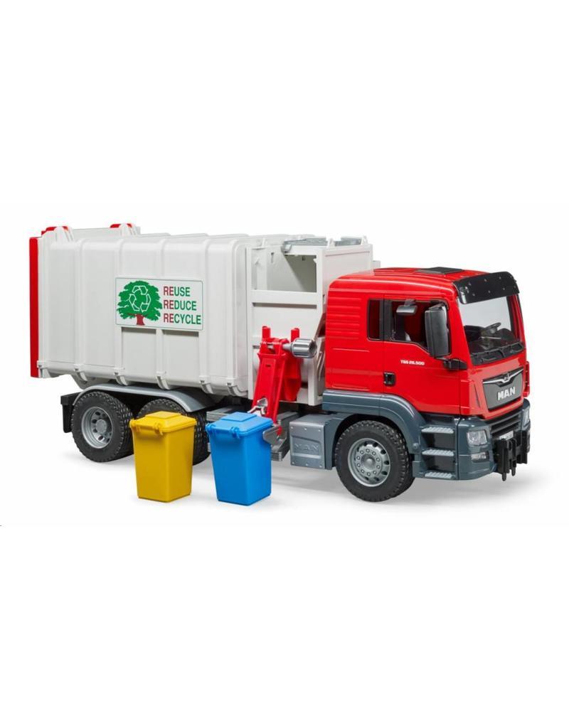 Bruder Bruder 3761 - MAN TGS vuilniswagen (zij lader) incl. 2 kliko's