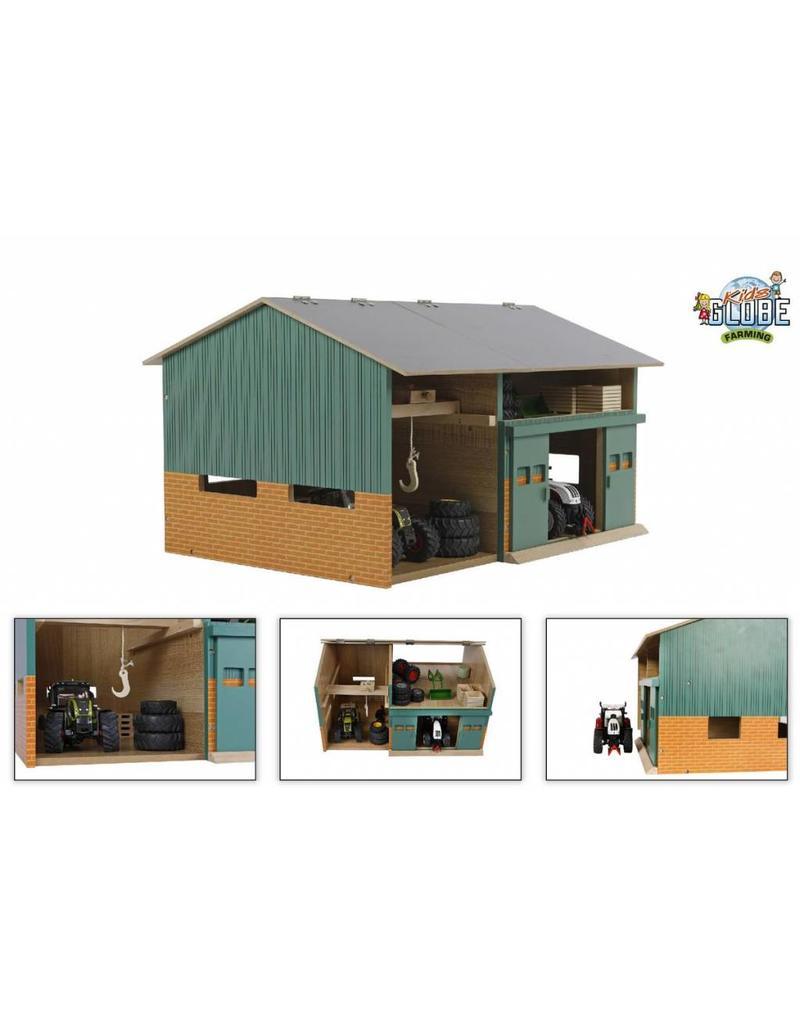 Kids Globe Kids Globe 610410 - Tractorwerkplaats met berging (1:32 / Siku)
