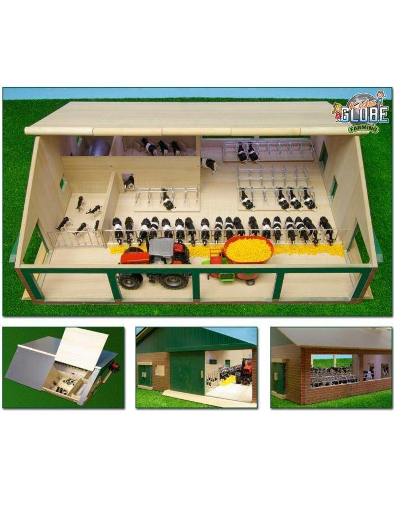 Kids Globe Kids Globe 610495 - Ligboxenstal met melkstal (1:32 / Siku)
