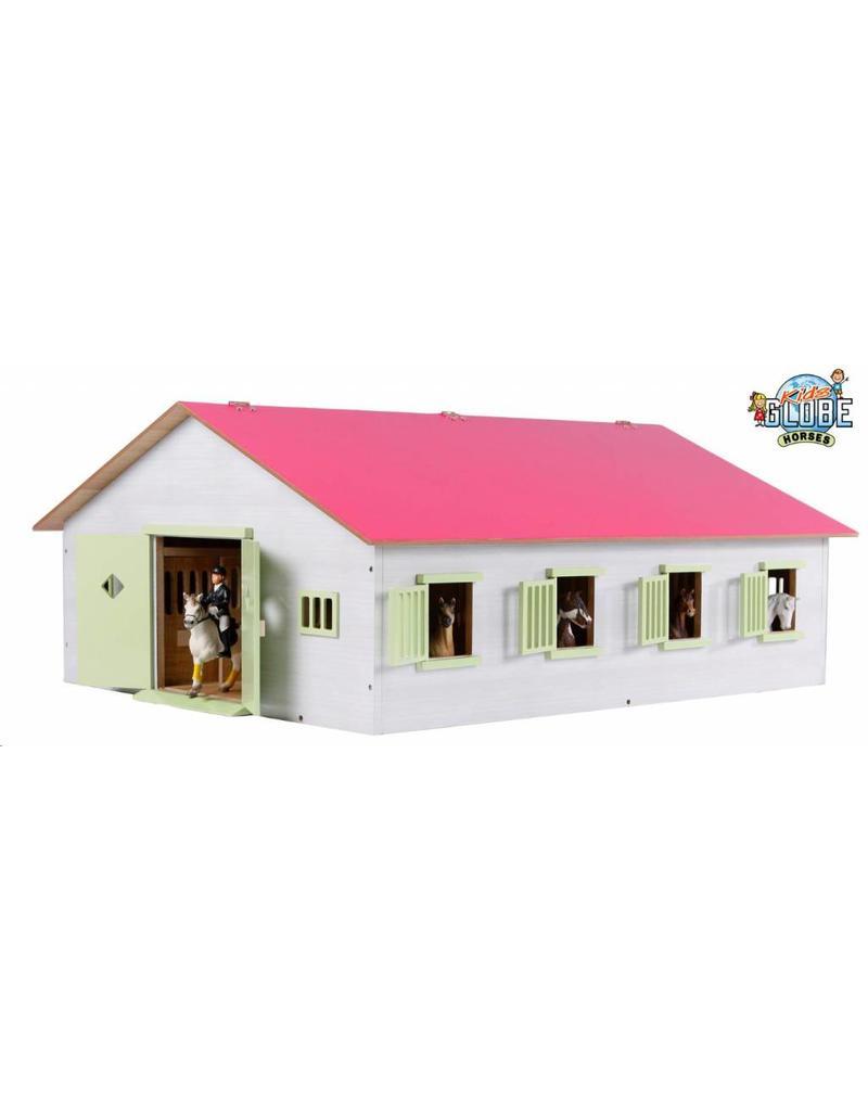 Kids Globe 610189 - Paardenstal met 7 boxen 1:24 wit/roze (geschikt voor Schleich)