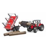 Bruder Bruder 2046 - Massey Ferguson 7480 met frontlader en houttransport aanhanger