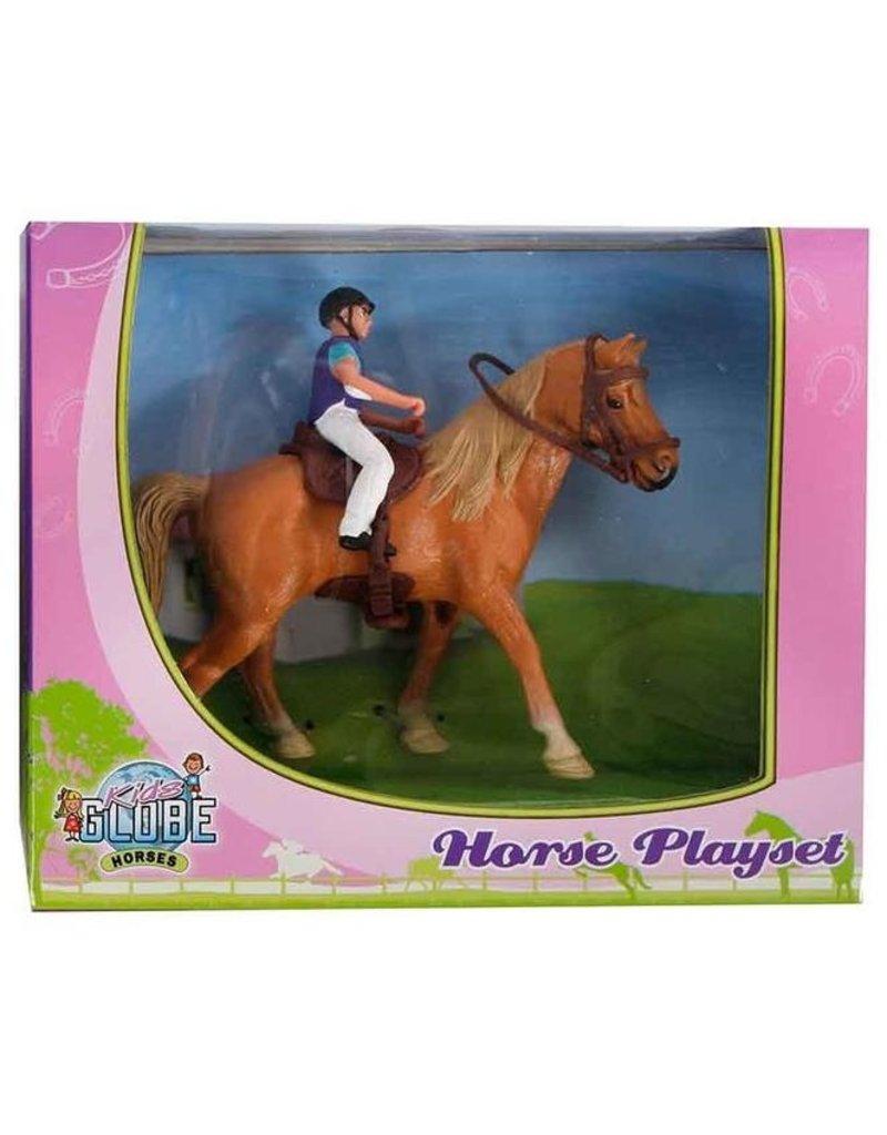 Kids Globe Kids Globe 640078A -  Paard (lichtbruin) met amazone 1:24 (geschikt voor SCHLEICH)