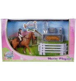 Kids Globe 640073 - Speelset: paard met ruiter en accessoires 1:24 (geschikt voor SCHLEICH)