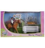 Kids Globe Kids Globe 640073 - Speelset: paard met ruiter en accessoires 1:24 (geschikt voor SCHLEICH)