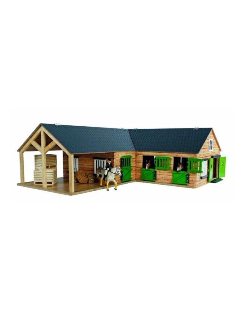 Kids Globe Kids Globe 610211 - Paardenhoekstal met3 boxen en berging1:24 bruin/zwart (geschikt voor Schleich)