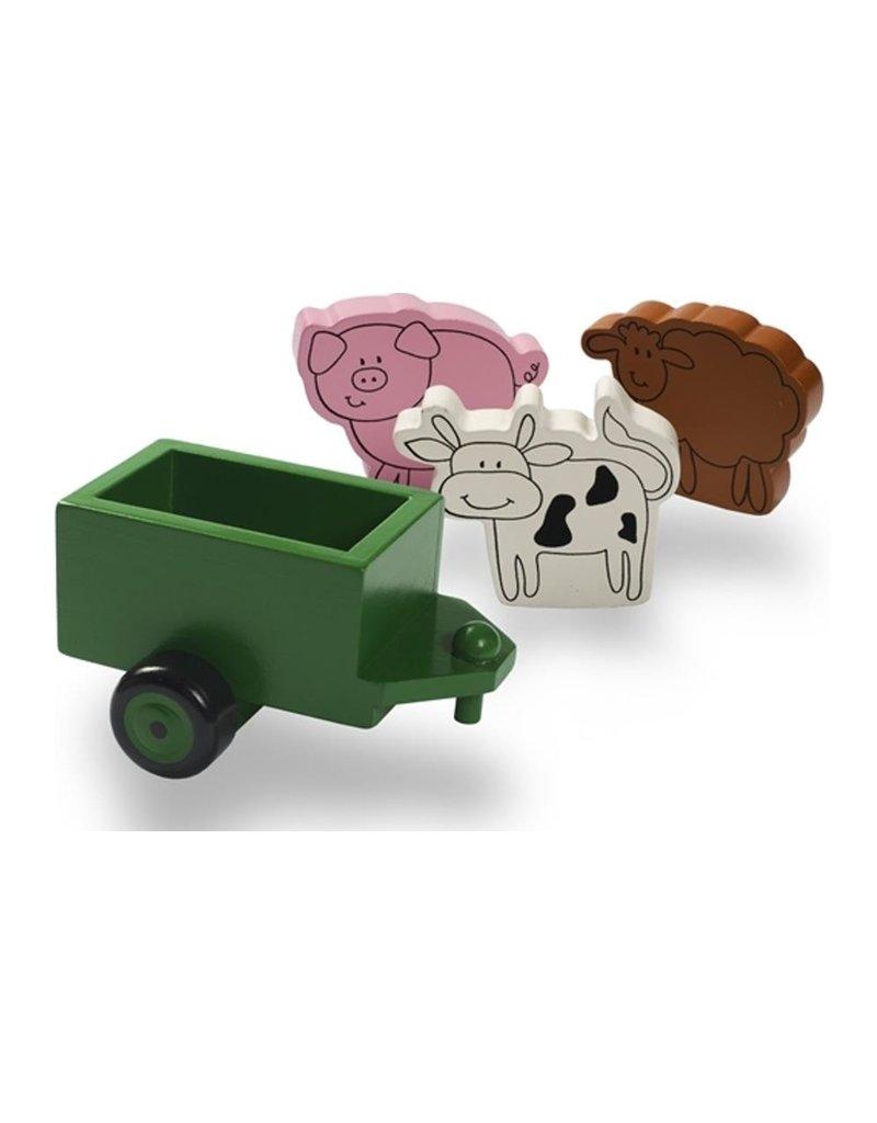Tractor Ted - aanhanger / houten trailer