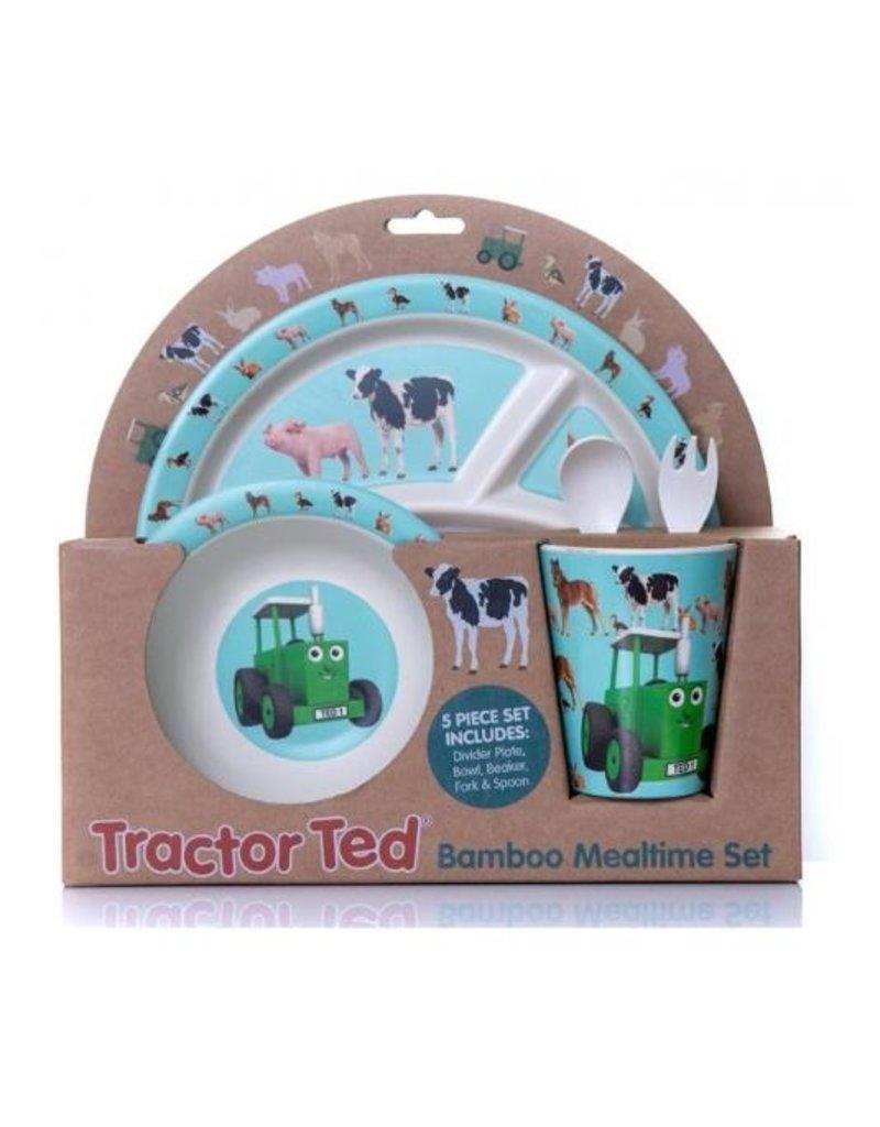 Tractor Ted - Giftset Bamboo klene dieren: Beker, Bakje/Kom, 3 vaks bord met bestek