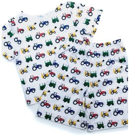 Tractor Ted - Pyjama kort - 5-6 jaar - wit met landbouwmachines