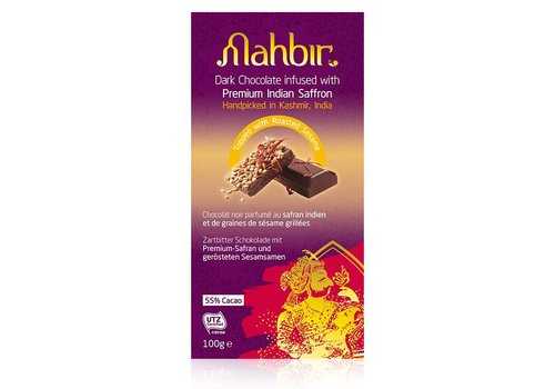 Mahbir Dark Chocolate with Saffron & Roasted Sesame, 100g