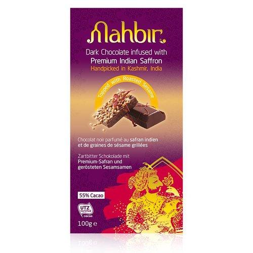 Mahbir Dark Chocolate with Saffron & Roasted Sesame, 100g