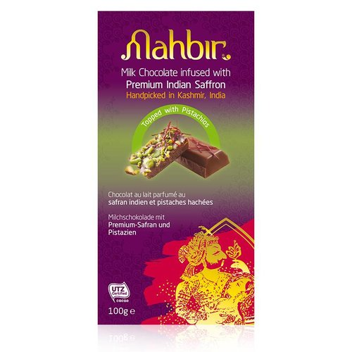 Mahbir Milk Chocolate with Saffron & Pistachios, 100g