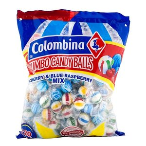 Colombina Jumbo Candy Balls Cherry & Blue Raspberry, 120pc