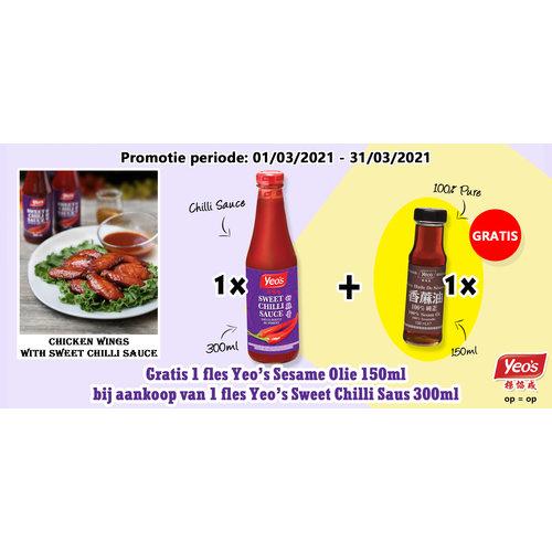 Yeo's Yeo's Sweet Chilli Sauce + Gratis Sesam Olie