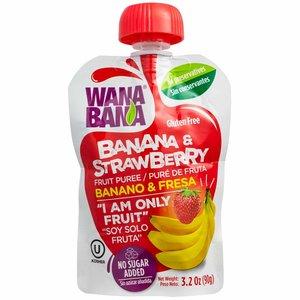 Wanabana Banana & Strawberry Puree, 90g