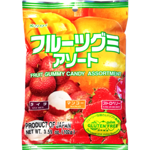 Kasugai Assorted Fruit Gummy Candy, 102g