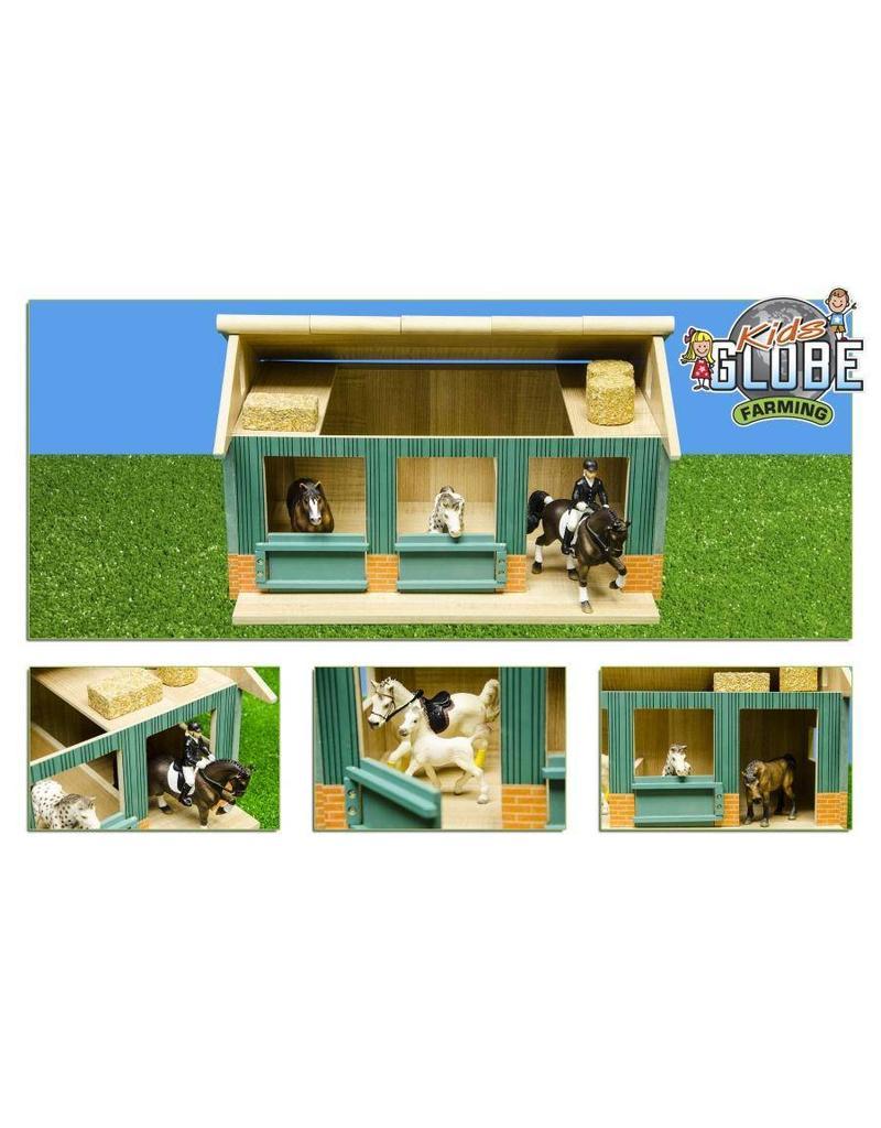 Kids Globe Kids Globe 610002 - Paardenstal met 2 boxen en berging (geschikt voor Schleich) 1:24