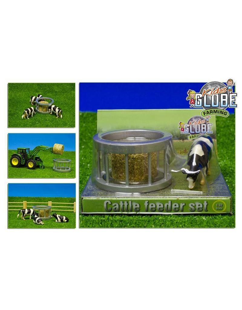 Kids Globe Kids Globe 571961 - Voederring met ronde baal en koe (1:32 / Siku)