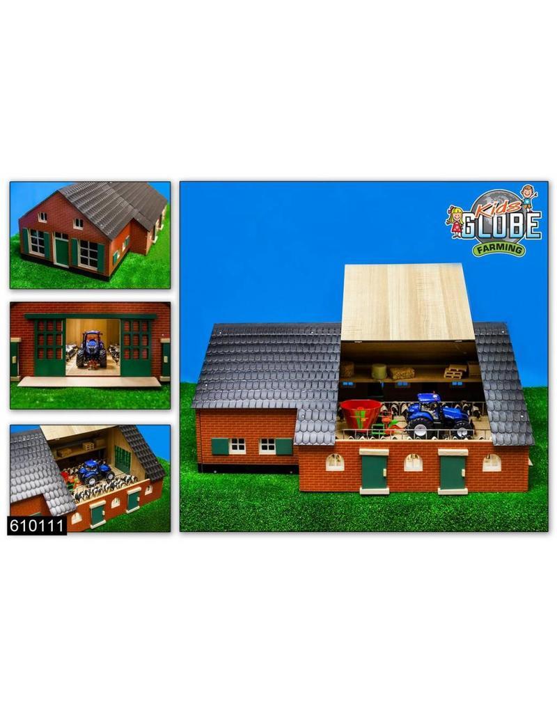 Kids Globe Kids Globe 610111 - Woonboerderij met koeienstal 1:32