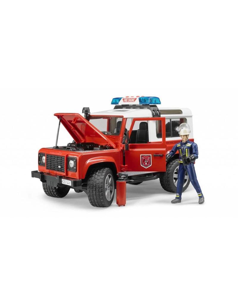 Bruder Bruder 2596 - Land Rover Defender Stationwagen - Brandweerauto en brandweerman